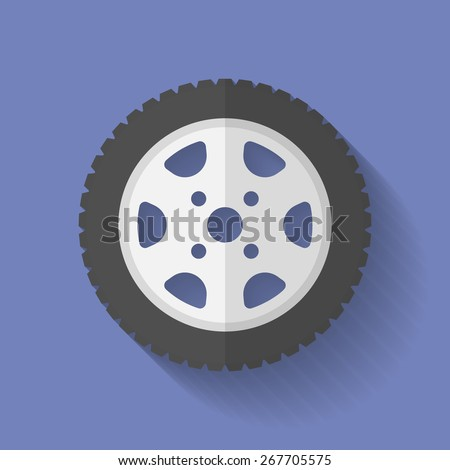 Car wheel icon. Flat style - stock vector