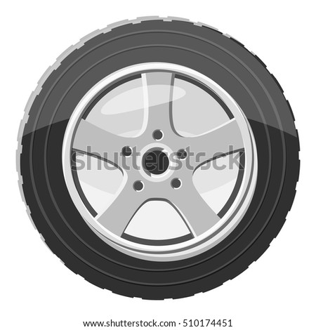 Car wheel icon. Gray monochrome illustration of car wheel vector icon for web