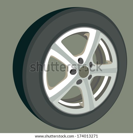 Car wheel. Illustration on white background for design. No mesh, no gradient - stock vector