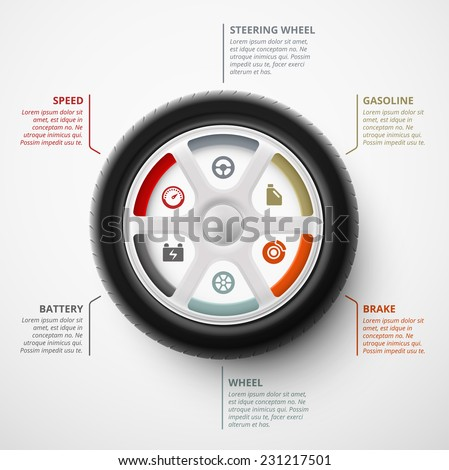 Car wheel, infographic elements, eps 10 - stock vector