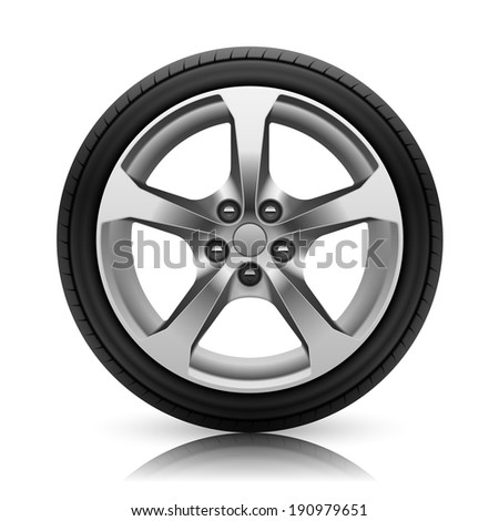 Car wheel. Isolated on white background - stock vector