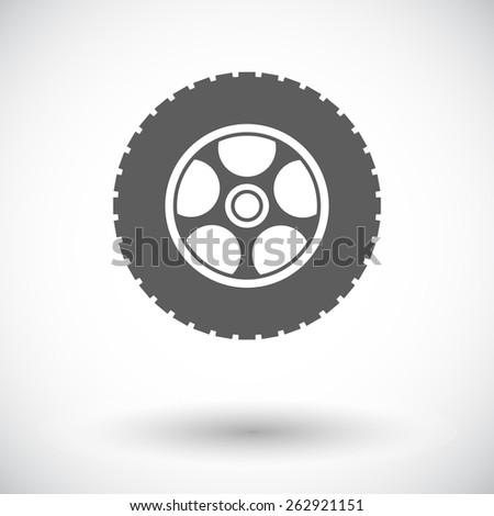 Car wheel. Single flat icon on white background. Vector illustration. - stock vector