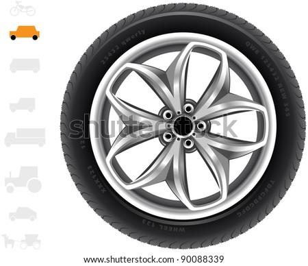 Car wheel (25). The series of the detailed wheels of the different vehicles: passenger cars, light trucks, vans. - stock vector