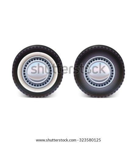 car wheel tire isolated on white background vector