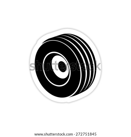 Car Wheel Tires icon on a white background with shadow  - stock vector