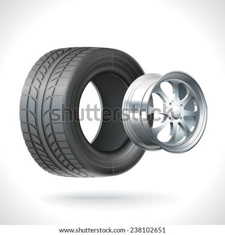 Car wheel unassembled - tires and wheels on the same axle - stock vector