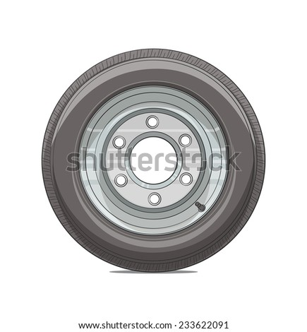 Car wheel vector illustration isolated on white background EPS10. Transparent objects and opacity masks used for shadows and lights drawing