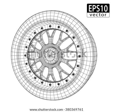 Car Wheel Wire Model | EPS10 Vector - stock vector