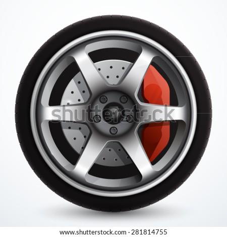 Car wheel with brake gear - stock vector