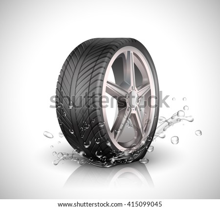 Car wheel with splashing water in motion blur on white background .Vector illustration EPS10 - stock vector