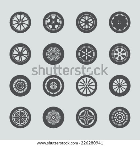 Car wheels icon set - stock vector