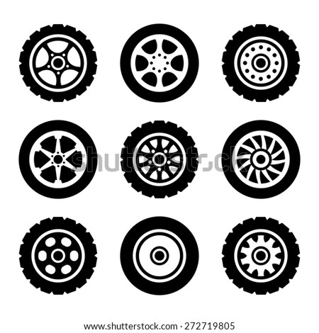 Car wheels icons set. Vector illustration. Isolated on white background. - stock vector