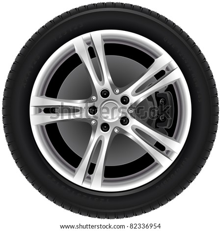 Car wheels (7). The series of the detailed wheels of the different vehicles - stock vector