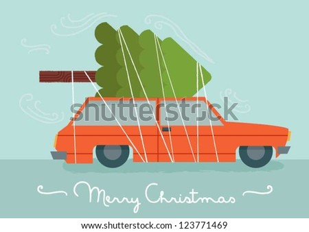 Car with a Christmas Tree - stock vector