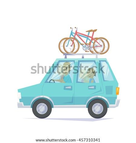 Car with bicycle mounted to the roof rack. Happy parents and children riding in a car with bike. Bicycle family road trip weekend getaway journey in bike park. Family car vacation with bike - stock vector
