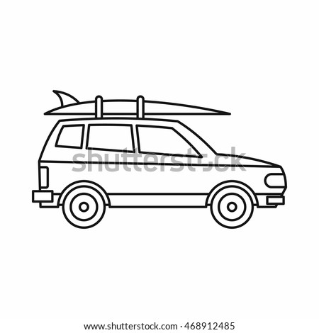 Car with luggage icon in outline style isolated on white background. Trip symbol vector illustration