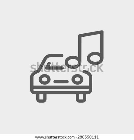 Car with music icon thin line for web and mobile, modern minimalistic flat design. Vector dark grey icon on light grey background. - stock vector