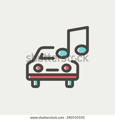 Car with music icon thin line for web and mobile, modern minimalistic flat design. Vector icon with dark grey outline and offset colour on light grey background. - stock vector