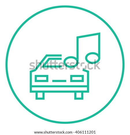 Car with music note line icon. - stock vector
