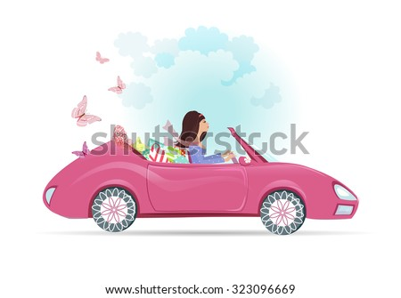 Car woman in pink convertible with shopping bags  - stock vector