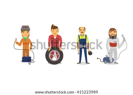 Car workers with working tools - stock vector