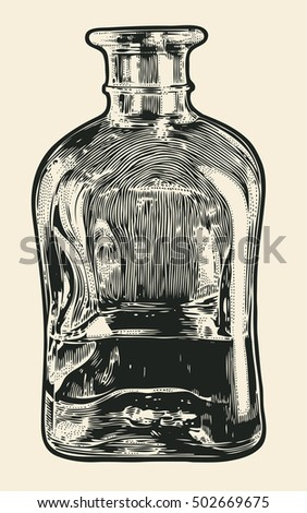 Carafe with whiskey. Hand Drawn Design Element. Engraving Style. Vector Illustration.