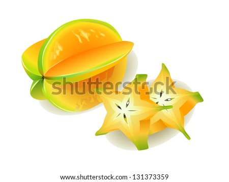 Carambola or Starfruit, slices of fresh Star Fruit - stock vector