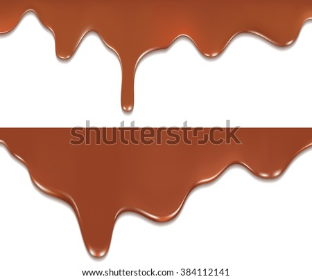 Caramel is flowing down. Vector Illustration