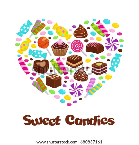 Caramel lollipop candies and chocolate sweets flat icons in heart shape. Candy and caramel dessert, chocolate candy, vector illustration