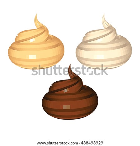 Caramel Milky and Chocolate Whipped Cream isolated on White Background. White Beige and Brown Surfaces of Cream. Low Poly Vector Illustration. Design for Banner Poster Flyer Postcard Cover Brochure.