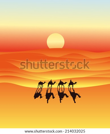 Caravan of camels in the desert - stock vector