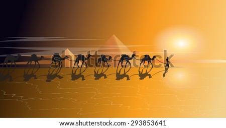 Caravan of camels in the desert at sunset
