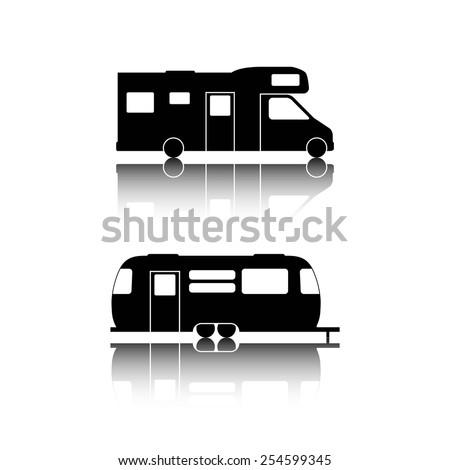 Caravan or camper van icons on white - stock vector