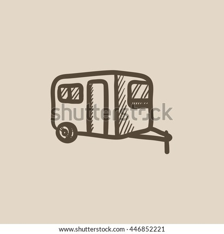 Caravan vector sketch icon isolated on background. Hand drawn Caravan icon. Caravan sketch icon for infographic, website or app.