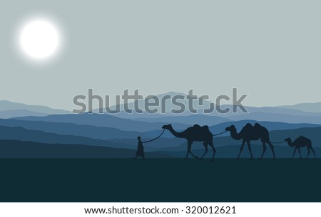 Caravan with camels in desert with mountains on background. Vector illustration - stock vector