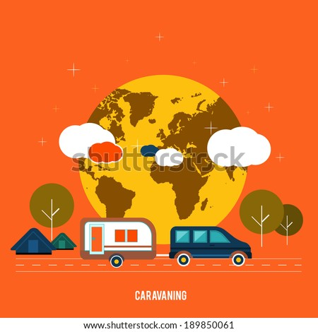 Caravaning near the tree. Caravaning tourism. Icons of traveling, planning a summer vacation, tourism and journey objects - stock vector