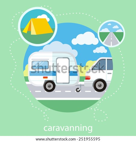 Caravaning on the road near the tree. Caravaning tourism. Icons of traveling, planning a summer vacation, tourism and journey objects - stock vector