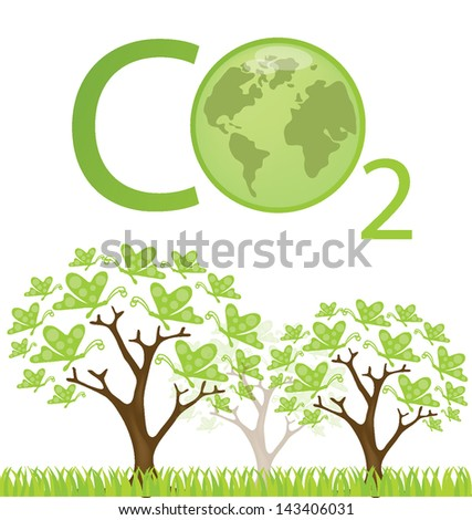 Carbon dioxide. Go green. Save world. vector illustration. - stock vector