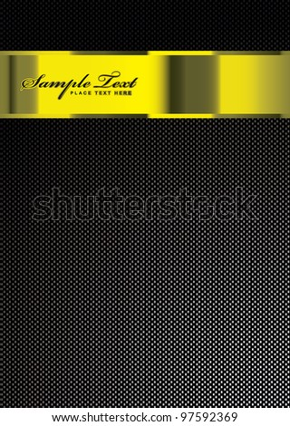 Carbon fiber background with gold band or banner with copy space