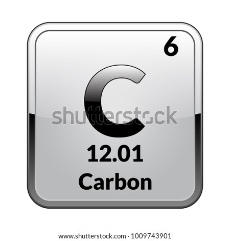 carbon symbolchemical element of the periodic table on a glossy white background in a - Periodic Table Carbon