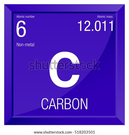 Carbon Symbol Element Number 6 Periodic Stock Vector Royalty Free
