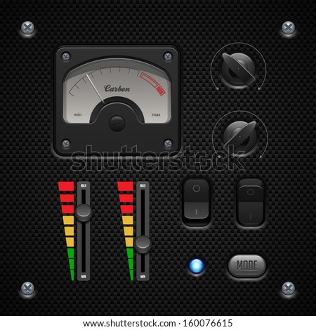 Carbon UI Application Software Controls Set. Switch, Knobs, Button, Lamp, Volume, Equalizer, Voltmeter, Speedometr, Indicator, Detector, LED. Web Design Elements. Vector User Interface EPS10  - stock vector