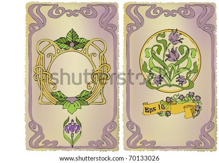 Card Art Nouveau with a place