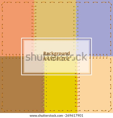 Card background with frame patchwork stitched fabric of six different colors - stock vector