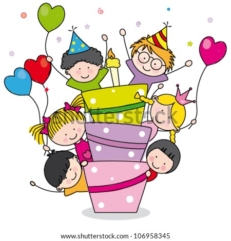 Card birthday celebration. Children with a cake - stock vector
