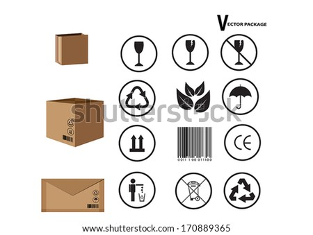 card board package and set of packing symbols - stock vector