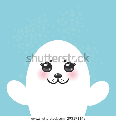 card design Funny white fur seal pups, cute seals with pink cheeks and big eyes. Kawaii animals albino on blue background. Vector - stock vector