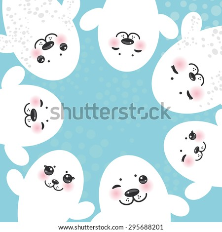 card design Funny white fur seal pups, cute winking seals with pink cheeks and big eyes. Kawaii albino animals on blue background. Vector - stock vector