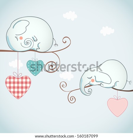 Card design with funny elephants on light background. - stock vector