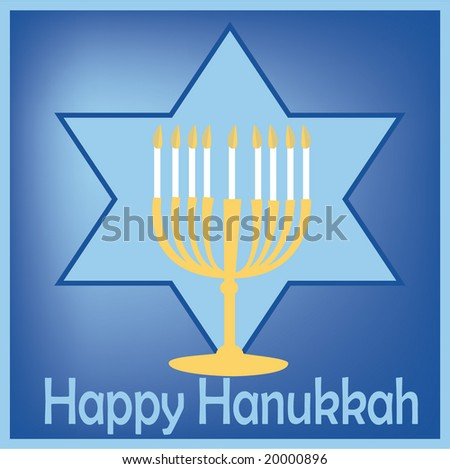 Card design with hanukkah greeting light and star - stock vector